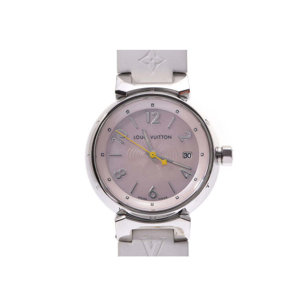 Louis Vuitton Tambour shell Dial Q 1216 Women's SS / Rubber Quartz Watch A rank 美 品 LOUIS VUITTON Box Gala Used Ginza