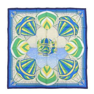 Real HERMES Hermes silk scarf SPINNAKERS spinnaker yacht blue series