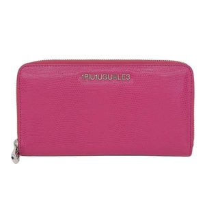 Real 1PIU1UGUALE3 RELAX Unopiedunoga Retret Leather Round Zipper Long Purse Pink Wallet