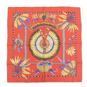 Real HERMES Hermes silk scarf curry 90 BRAZIL Brazil red series