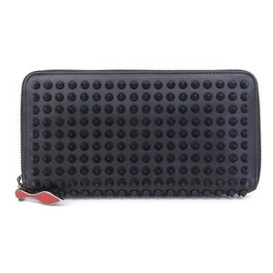 Real Christian Louboutin Calf Leather Spike Studs Round Zipper Long Purse Black