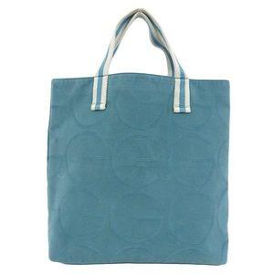 Genuine GUCCI Gucci G logo canvas tote bag green leather