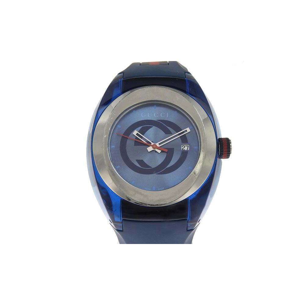 Genuine GUCCI Gucci sink men's quartz wristwatch blue dial number: 137.1