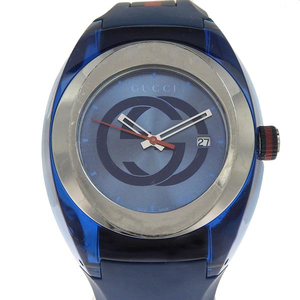 Genuine GUCCI Gucci sink men's quartz wristwatch blue dial number: 137.1