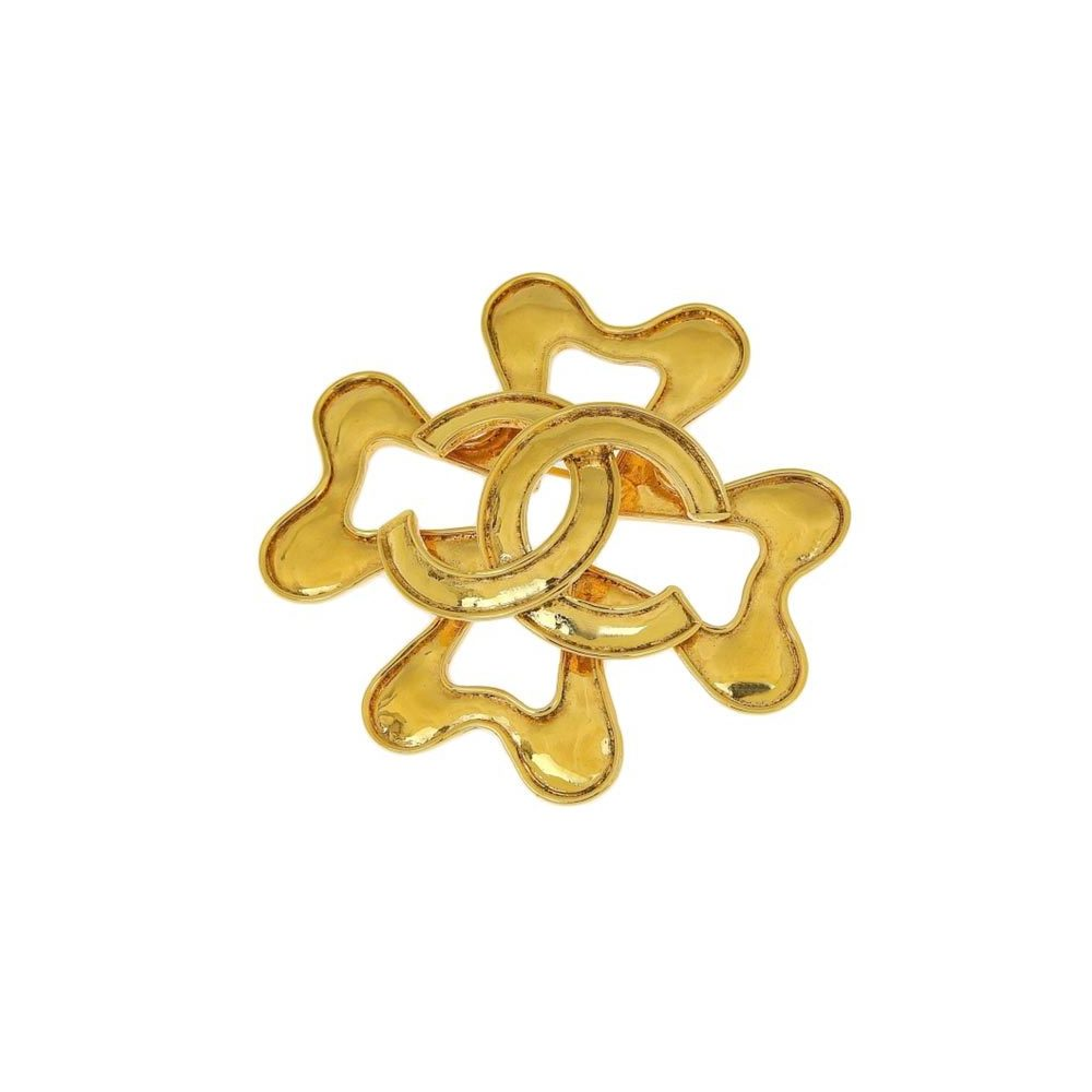Genuine CHANEL Chanel Coco Mark Clover Brooch Gold 94P