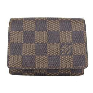 Authentic Louis Vuitton Damier Amvelop Cult de Wig Card Case Ebene