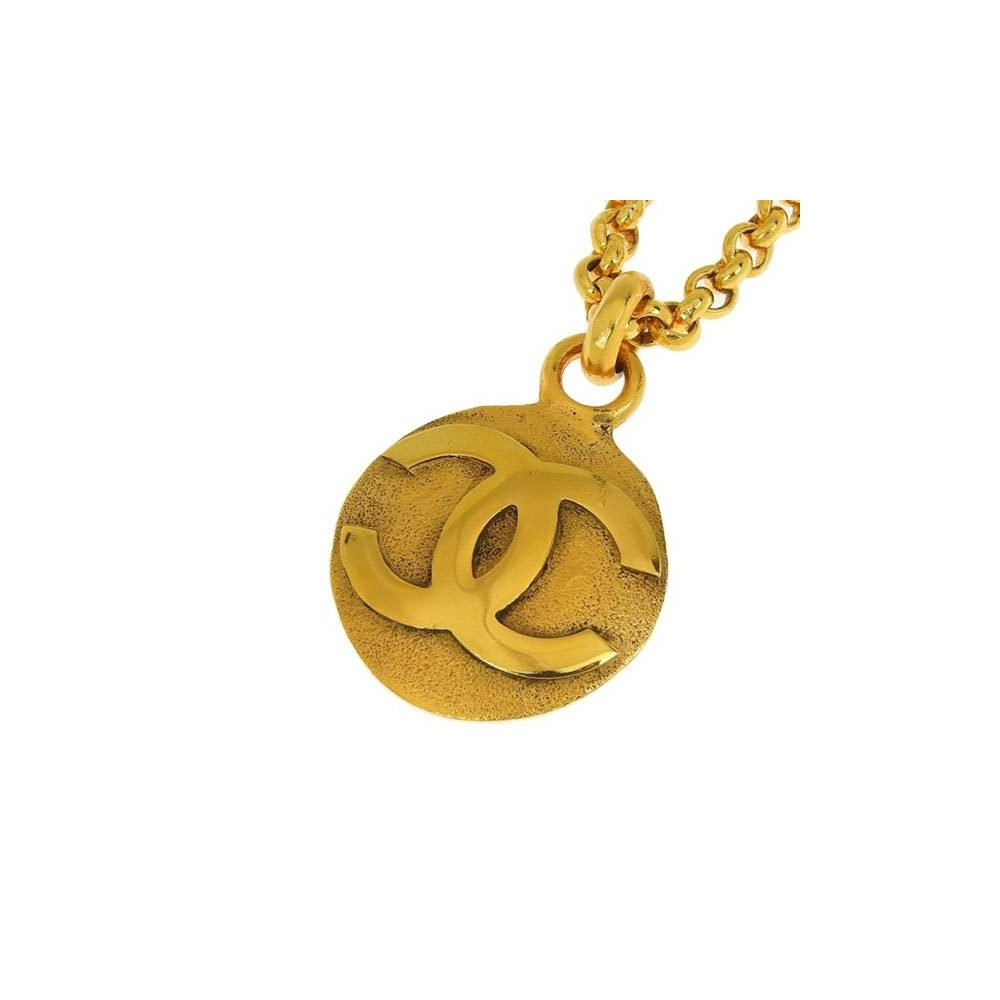 Genuine CHANEL Chanel Coco mark gold color necklace