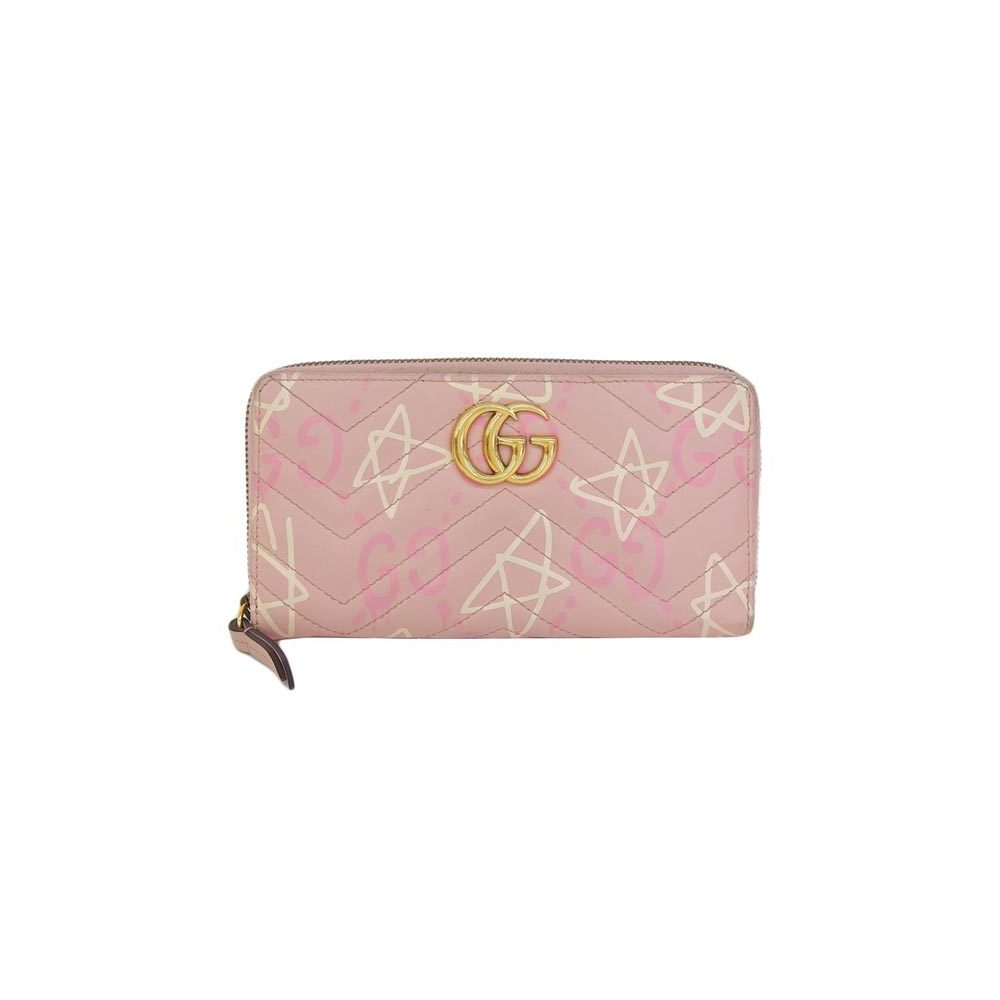Genuine GUCCI Gucci Ghost GG Mermont Round Zipper Long Purse Pink Model Number: 448087 Leather