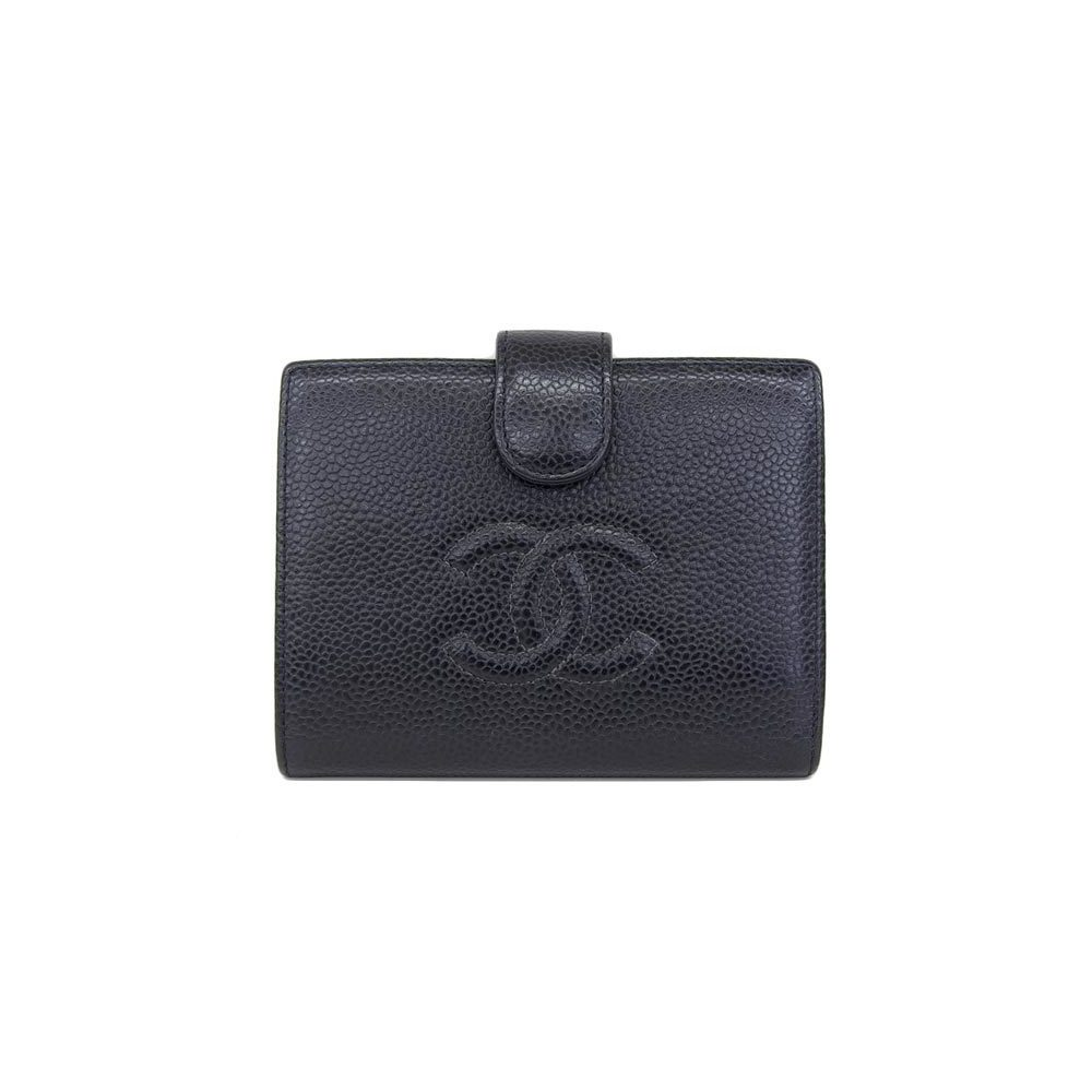 Genuine CHANEL Chanel Coco Mark Caviar Skin Pouch Double Fold Wallet Black Gold Hardware Leather