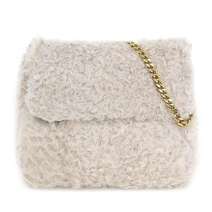 Genuine CELINE Celine Fur Chain Shoulder Bag White Gold Hardware Leather
