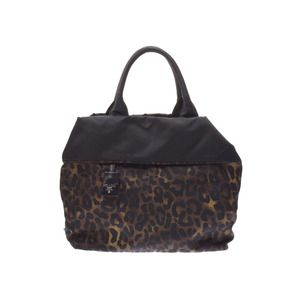 Prada Reversible 2 Way Tote Bag Leopard × Black BR 4521 Ladies Nylon B Rank PRADA Strap Galler Used Ginza
