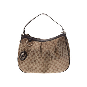 Gucci semi-shoulder bag beige type / dark brown ladies' GG canvas AB rank GUCCI secondhand silver storage
