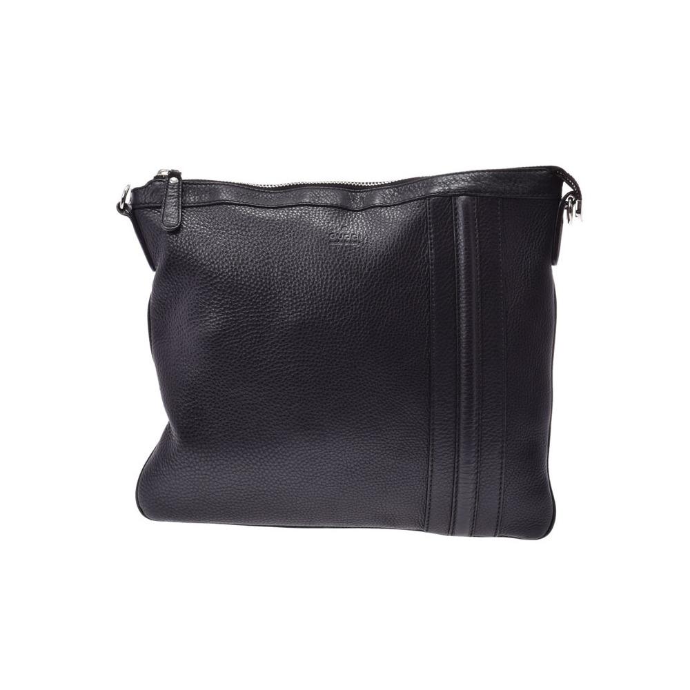 Gucci shoulder bag black men's ladies calf B rank GUCCI second hand silver storage