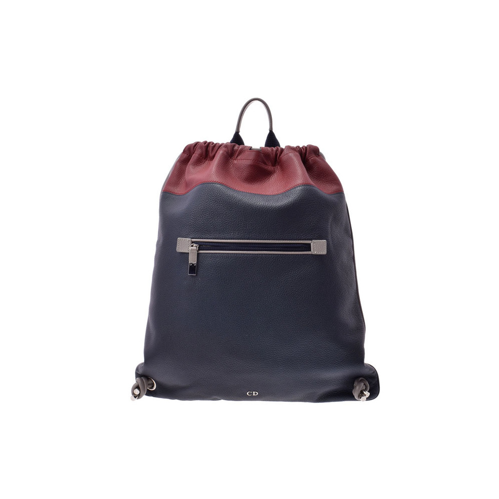 Dior knapsack red × blue men's ladies calf backpack A rank 美 品 DIOR second hand silver storage