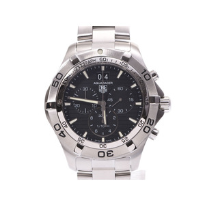 TAG Heuer Aquaracer Chrono Black Letterboard CAF 101 E.BA 0821 Men's SS Automatic Volume Watch A Rank Galler Used Ginza
