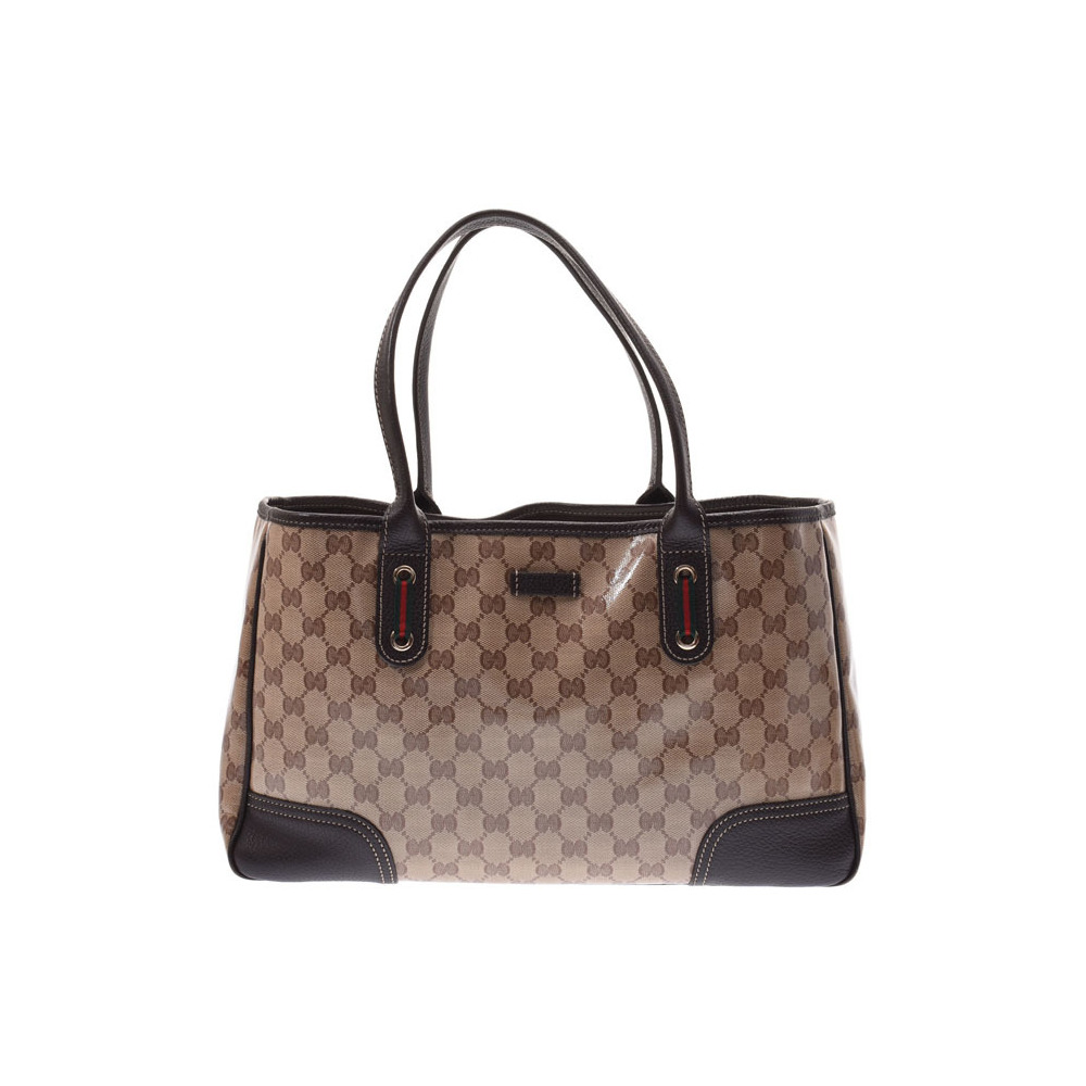 Gucci GG pattern tote bag outlet beige type / dark brown ladies' coating canvas leather AB rank GUCCI second hand silver storage