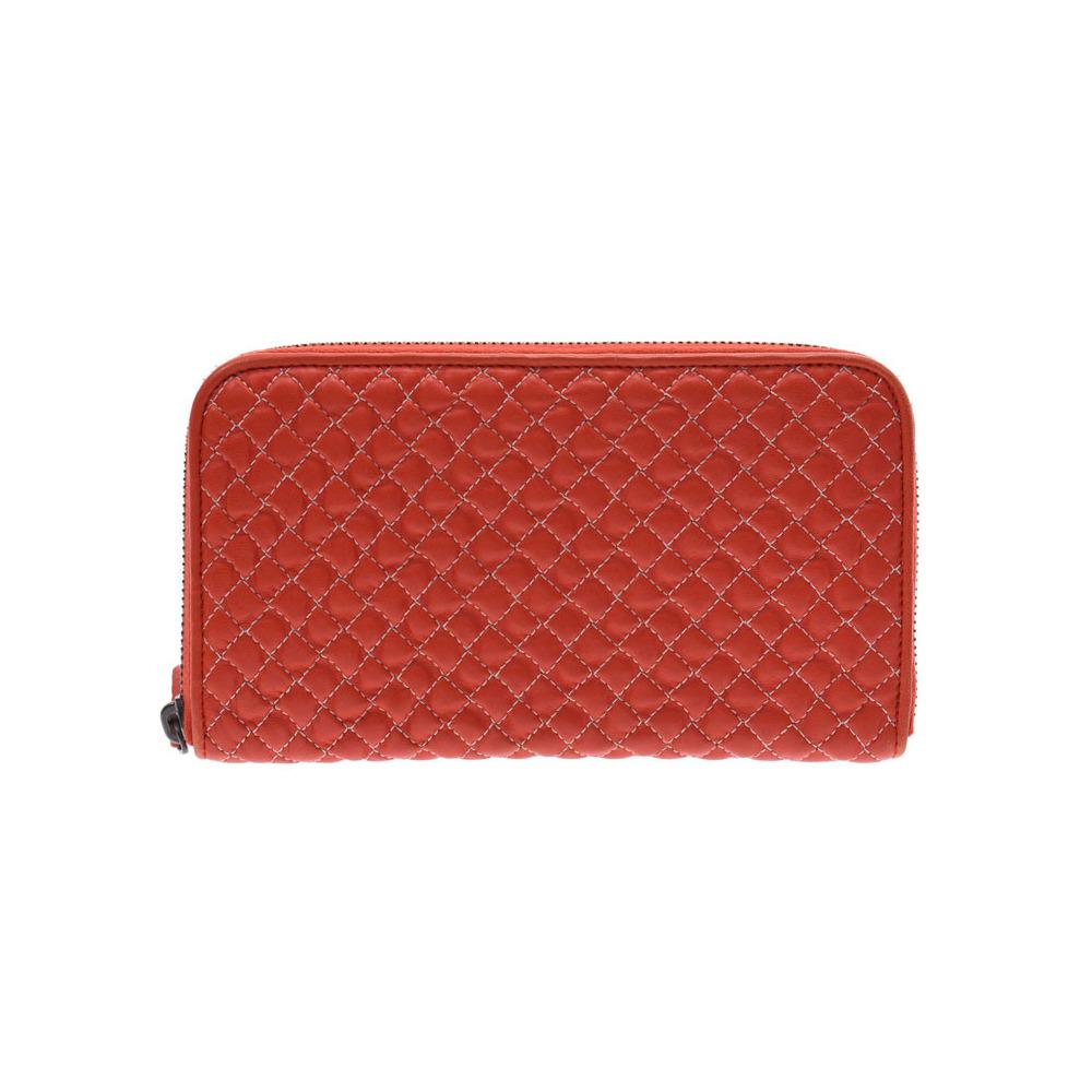 Bottega Veneta round fastener wallet red ladies leather