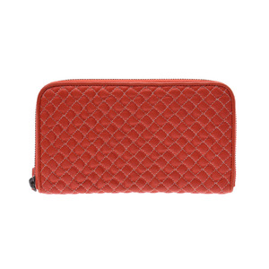 Bottega Veneta round fastener wallet stitch red ladies leather AB rank BOTTEGA VENETA box second hand silver storage