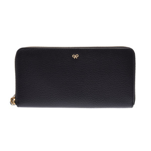 Anya Hindmarch Round Zipper Long Purse Black Ladies Embossed Leather A rank 美 品 ANYA HINDMARCH Box Used Ginza