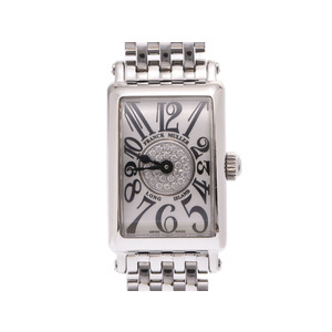 Frank Muller Long Island Petit Silver dial center dia. 802QZCD 1P Women's SS / Diamond quartz wristwatch A rank beautiful goods FRANCK MULLER box regular galleries secondhand