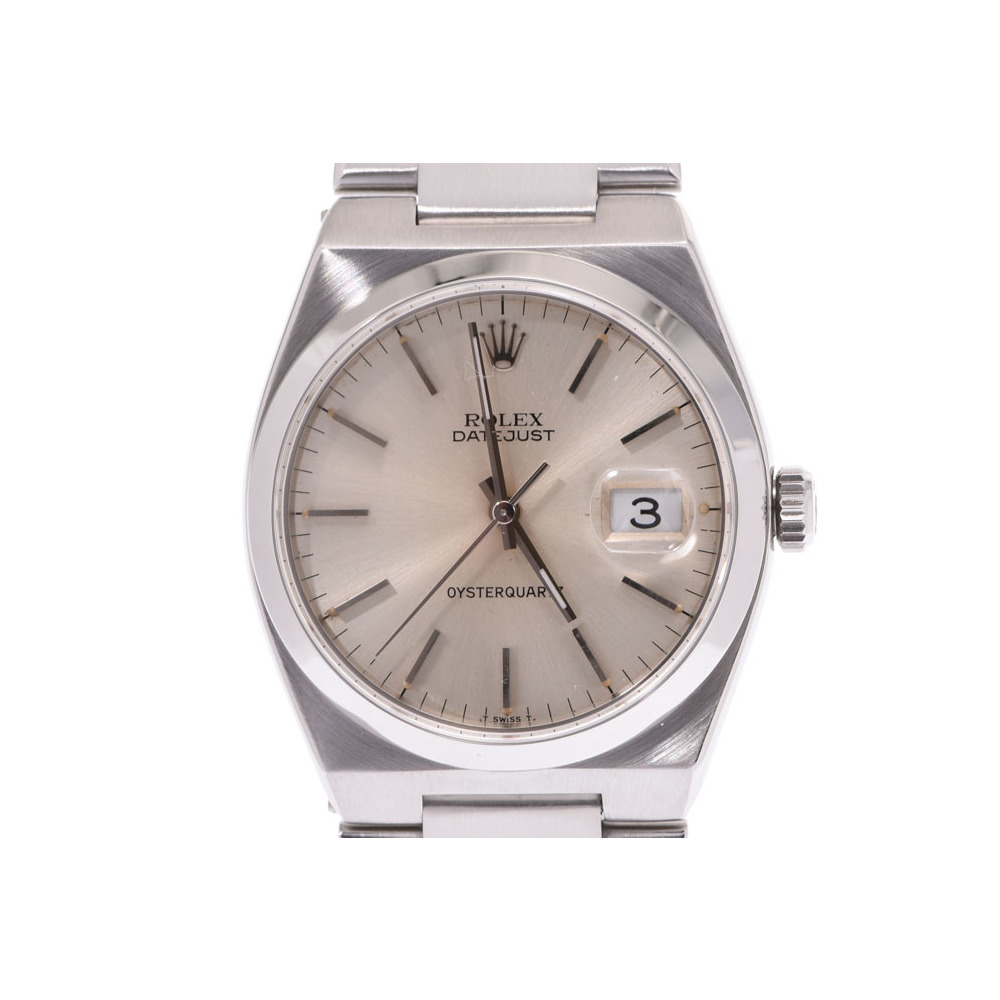 ROLEX Datejust 17000 Silver dial face Men's SS quartz wristwatch A rank 美 品 State Sabo Used Ginza
