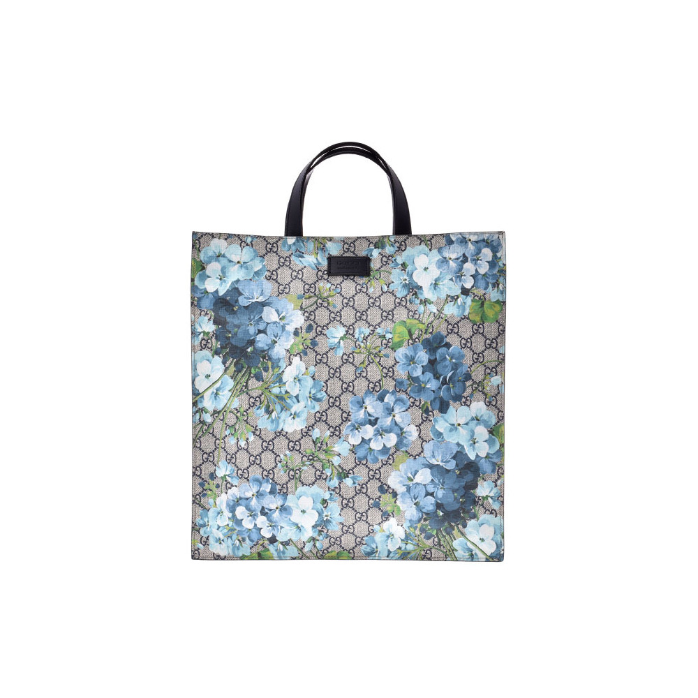 Gucci GG Supreme Bloom 2WAY Tote Blue Series Floral Pattern Women's PVC Leather Unused GUCCI with Strap Used Ginsho