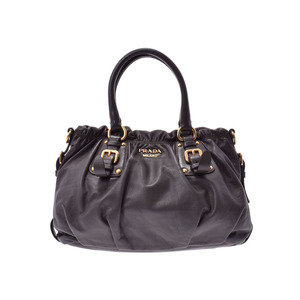 Prada 2WAY handbag gray BR4259 Ladies calf AB rank PRADA with galler second hand silver storage