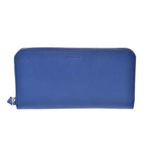 Prada round fastener long wallet blue SV metal fitting 2M1317 ladies' safiano unused beautiful article PRADA box gallery used silver storage