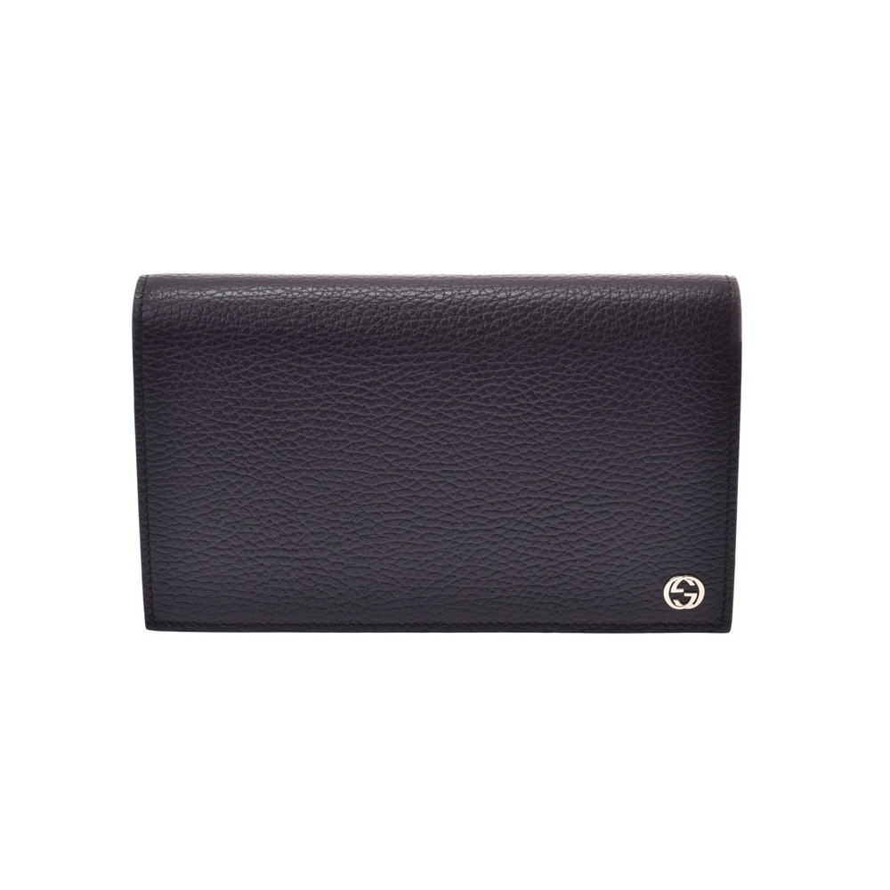 Gucci chain wallet black G fittings ladies' calf outlet unused beautiful goods GUCCI box secondhand silver kura