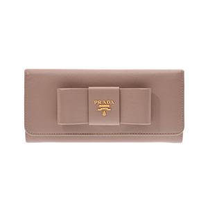 Prada zipper long wallet ribbon motif cameo 1M1132 ladies safiano AB rank PRADA GALA second hand silver storage