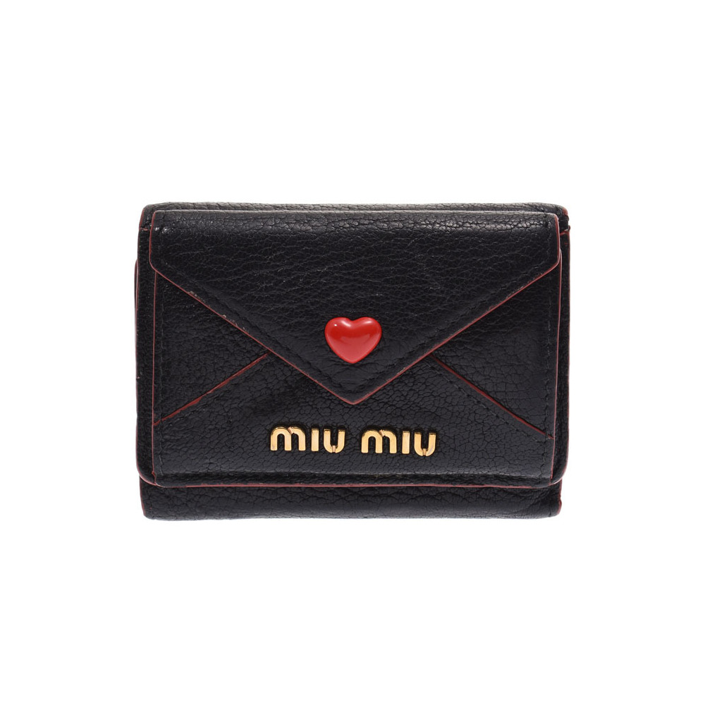 Miu Miu Miu Mitsu Fold Purse Madras Heart Black / Red Ladies Leather Mini Wallet B Rank MIUMIU Used Ginza