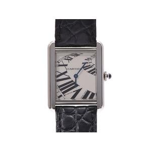 カルティエ タンク ソロSM シルバー文字盤 レディース SS/革 クオーツ 腕時計 Aランク CARTIER 中古 銀蔵