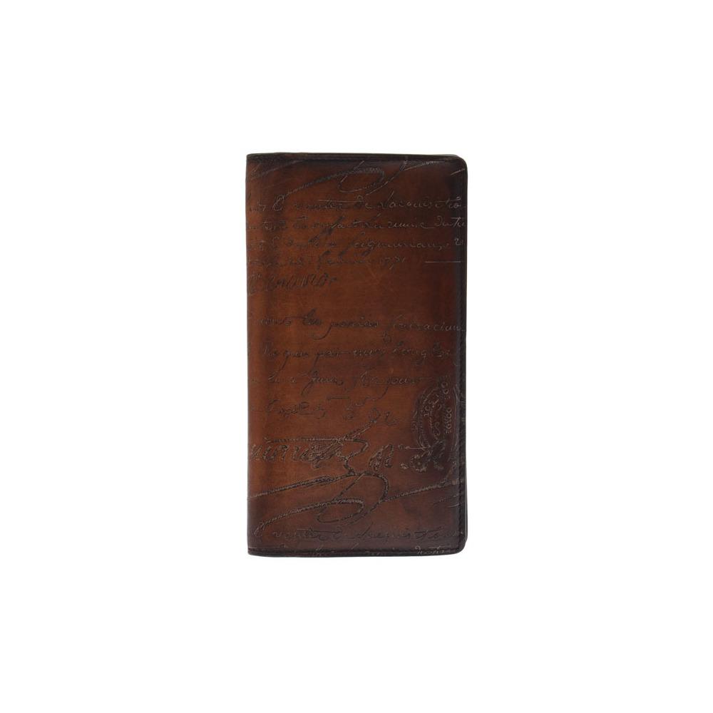 Berlutti Netsu Fold Wallet Calligraphy Tea Mens Leather B Rank Berluti Used Ginza