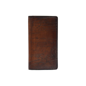 Berlutti Netsu Fold Wallet Calligraphy Tea Mens Leather B Rank Berluti Used Ginza