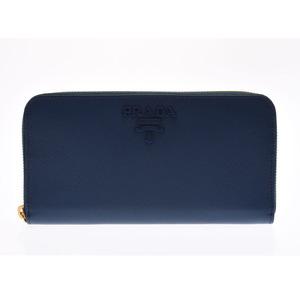 Prada round fastener wallet blue 1ML 506 men's ladies' safiano unused beautiful goods PRADA box gallery used silver storage