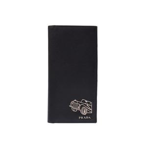 Prada Long-term wallet car motif black SV metal fittings mens suffiano B rank PRADA second hand silver storage