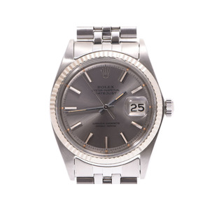 Rolex Datejust Silver Gray Dial 1601 Men's WG / SS Automatic Watch Wrist AB Rank ROLEX Used Ginza