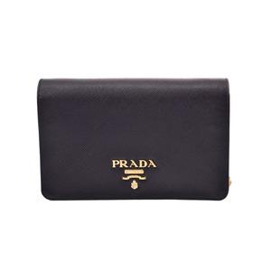 Prada Chain Wallet Black G Metallic 1BP006 Women's Safiano Shinzo Beauty Items PRADA Galleries Mirror with Used Ginza