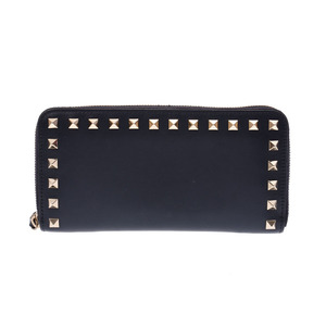 Valentino Round Zipper Long Wallet Navy Ladies Lambskin Rock Studs GP AB Rank VALENTINO Box Used Ginza