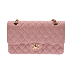 Chanel chain shoulder bag Pink G metal fittings Women's caviar skin A rank CHANEL galleries second hand silver storage