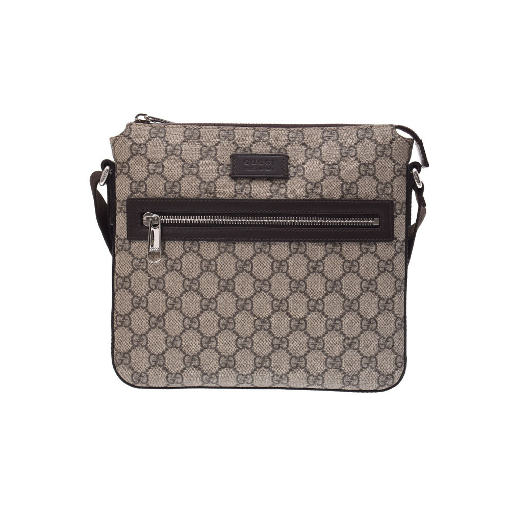 Gucci shoulder bag Gray series men's ladies GG Supreme A rank GUCCI second hand silver storage