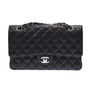 Chanel Matrasse Chain Shoulder Bag Black SV Hardware Women's Caviar Skin Double Lid AB Rank CHANEL Galler Used Ginza
