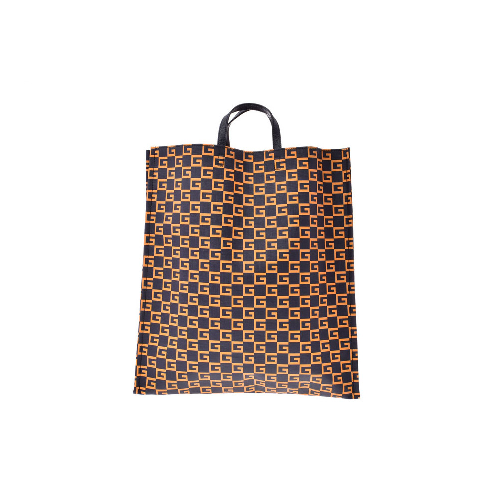 Gucci Square G Tote Blue Navy / Orange Men's Women's Supreme Leather New and the same Beauty Item