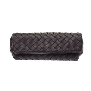 Bottega Veneta pouch Intorechat dark brown system men's ladies calf AB rank BOTTEGA VENETA second hand silver storage