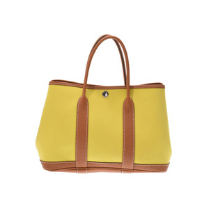 Hermès Garden Party 30 Lime SV metal fitting A Engraved ladies' tooth office handbag AB rank HERMES second hand silver storage