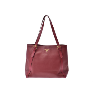 Prada Tote Bag Bordeaux Ladies Calf AB Rank PRADA Used Ginza