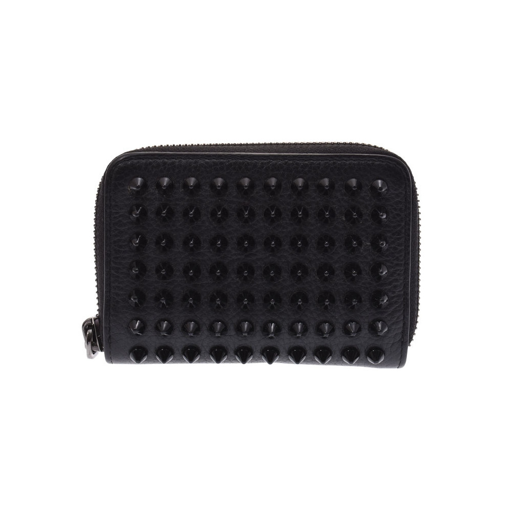 Christian Louboutin Louboutin coin case studs black ladies' men's leather purse B rank Christian second hand silver storage
