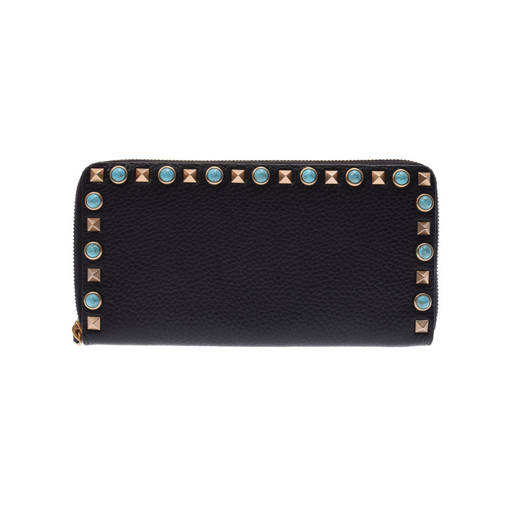 Valentino round zipper wallet black ladies leather studs A rank 美 品 VALENTINO box second hand silver storage