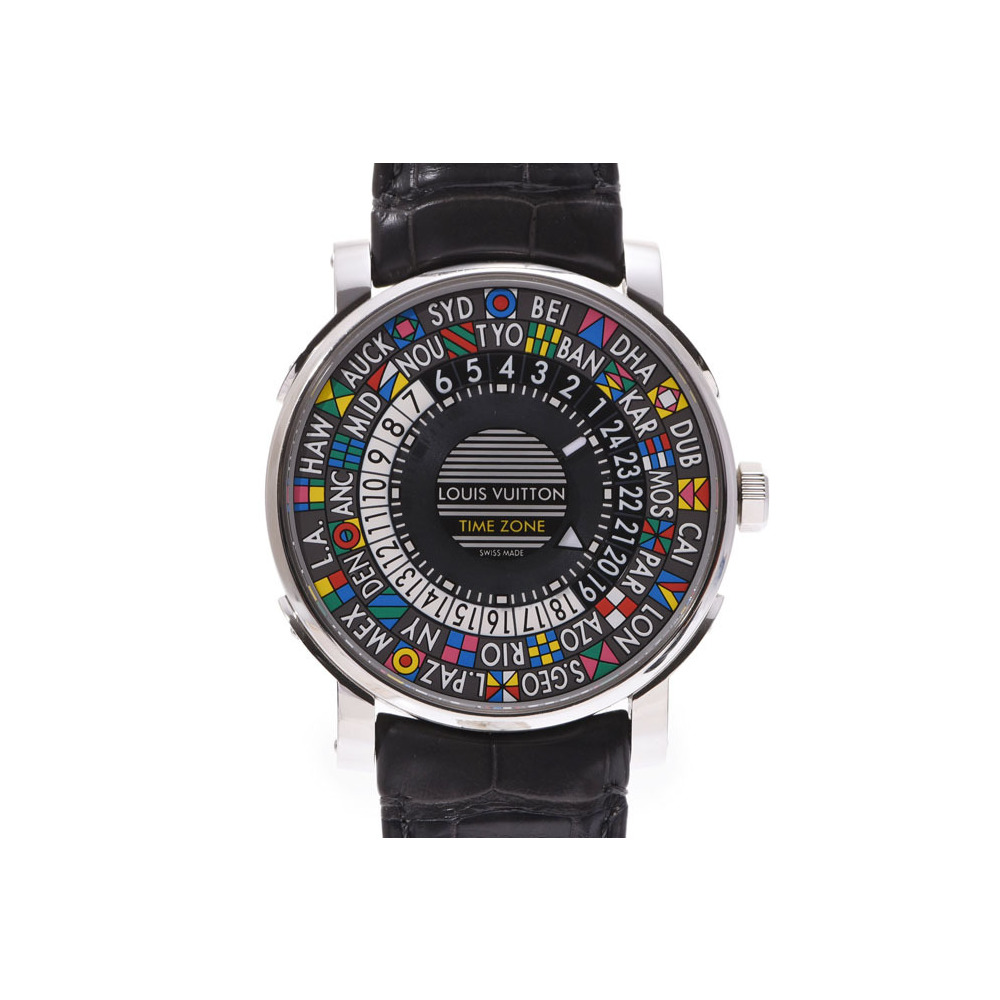 Louis Vuitton Escal Time Zone Gray Dial Q5D20 Men's SS / Leather Automatic Watch A Rank Beautiful Item LOUIS VUITTON Box Gala Used Ginza