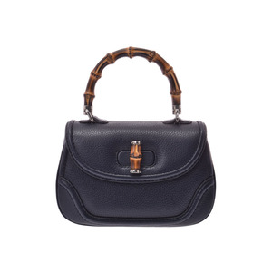 Gucci Bamboo 2 WAY Handbag Navy Women's Leather A rank 美 品 GUCCI with strap Used silver storage